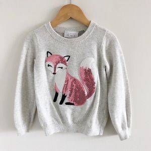 Children's Place Bling Fox Gray Sweater 3T Toddler